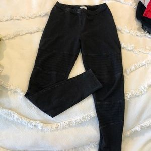 07caafc0c910d Abound Pants | Black Ribbed Faux Leather Patch Leggings S | Poshmark